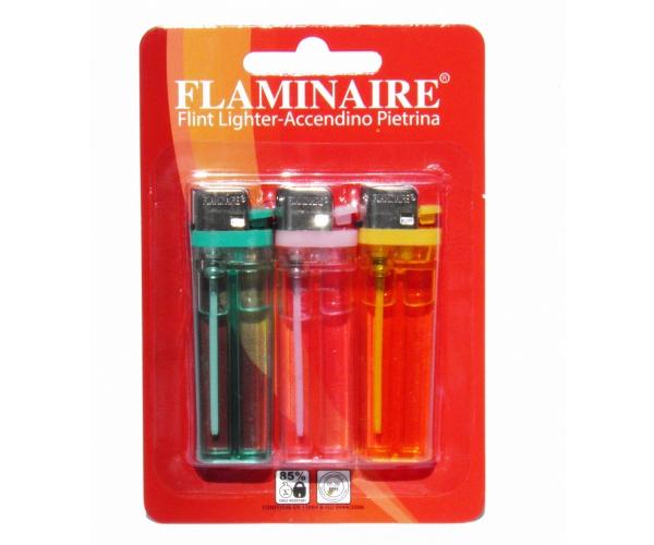 Accendinoin Blister x3 Flaminaire TRASPARENTE PIETRINA USA E GETTA